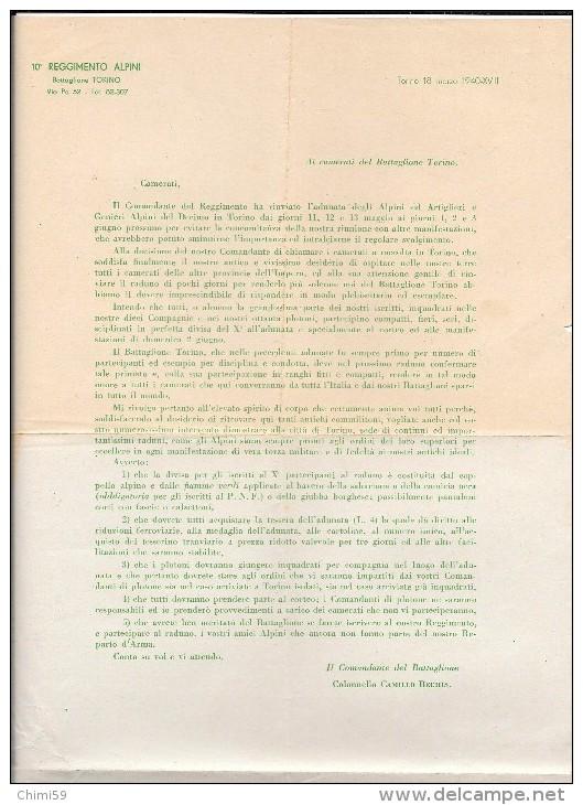 ALPINI - 10° REGGIMENTO ALPINI BATTAGLIONE TORINO - DOCUMENTO - Vieux Papiers