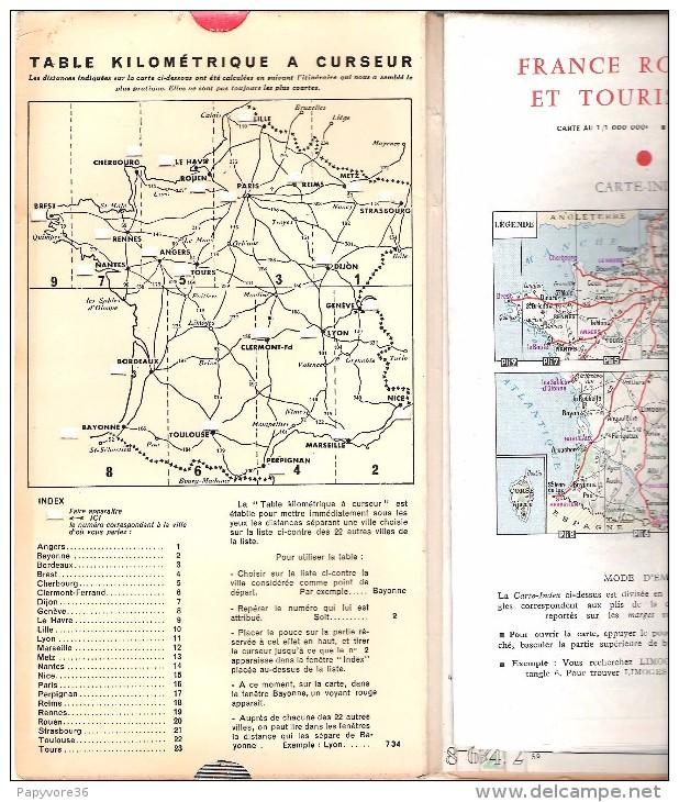 CARTE ROUTIERE Et TOURISTIQUE FRANCE - Foldex 1960 - Publicité Des Engrais PEC - Table Kms à Curseur - Carte Stradali