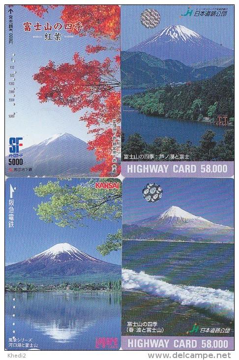 LOT De 4 Cartes Prépayées Japon - Volcan MONT FUJI - Mountain Vulcan Japan Prepaid Cards - Berg Karten - 260 - Volcanos