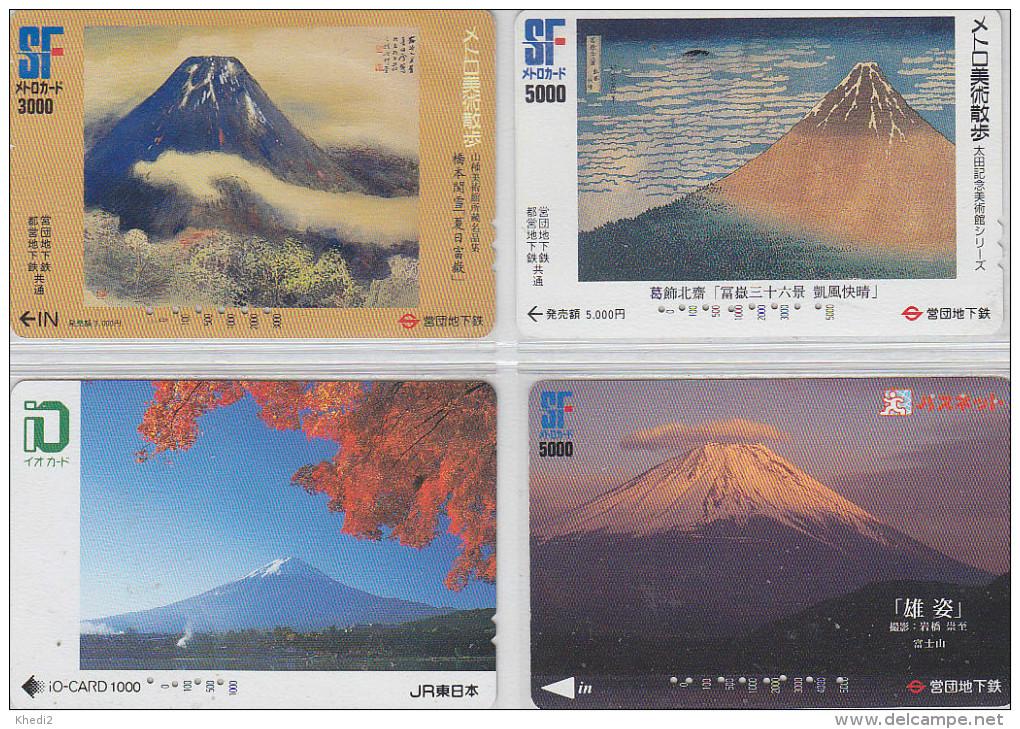 LOT De 4 Cartes Prépayées Japon - Volcan MONT FUJI - Mountain Vulcan Japan Prepaid Cards - Berg Karten - 263 - Volcans
