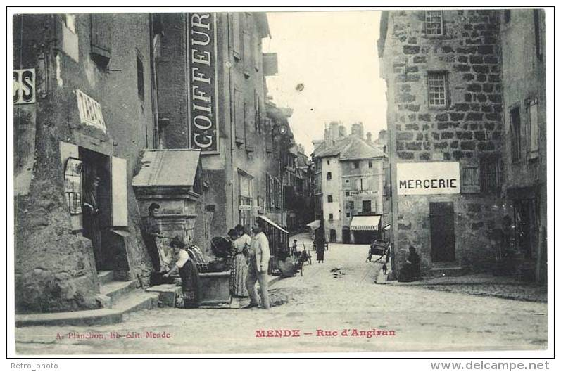 Mende - Rue D'Angiran ( Fontaine, Mercerie ) - Mende