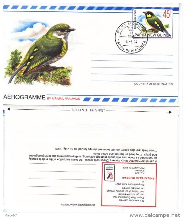 PAPUA  NEW  GUINEA FDC  AEROGRAM  *  BIRD - Papua New Guinea