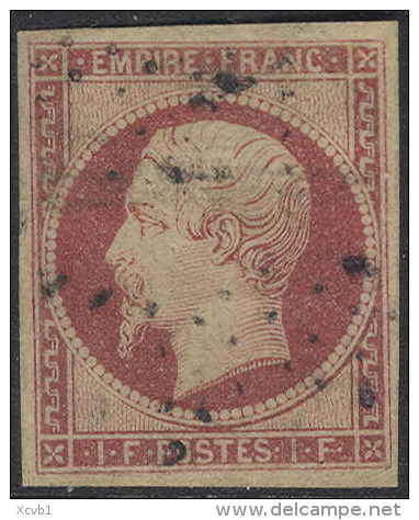 # France 21, Used, XF,  RARE, Backstamped (fr021-6, Michel 17 Karmine, [16-CBET - 1853-1860 Napoleon III