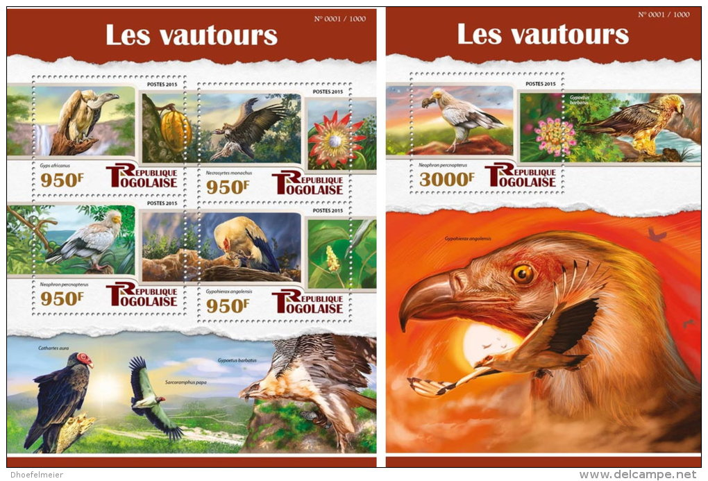 TOGO 2015 ** Vultures Geier M/S+S/S - OFFICIAL ISSUE - A1602 - Arends & Roofvogels