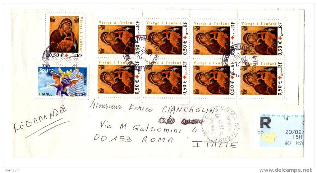 BIG - FRANCIA , RACCOMANDATA DEL 20/2/2007 PER L' ITALIA - Storia Postale