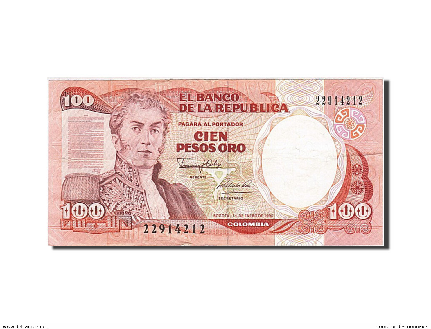 Colombie, 100 Pesos Oro, 1983-1991, 1990-01-01, KM:426e, TTB - Colombie