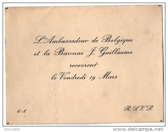 VP2757 - PARIS -  Carte D´invitation  - Mr L´Ambassadeur De Belgique Et La Baronne J GUILLAUME - Mapas