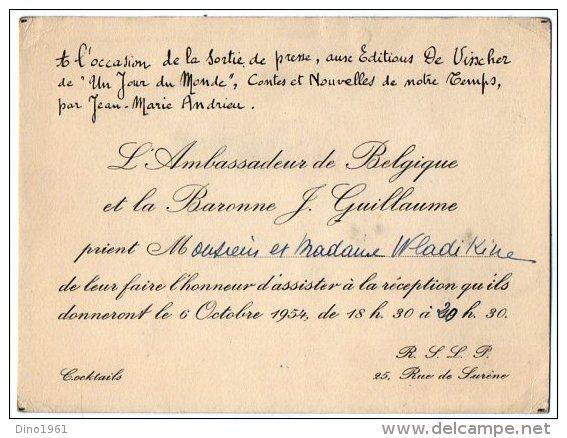 VP2758 - PARIS -  Carte D´invitation  - Mr L´Ambassadeur De Belgique Et La Baronne J GUILLAUME - Sin Clasificación