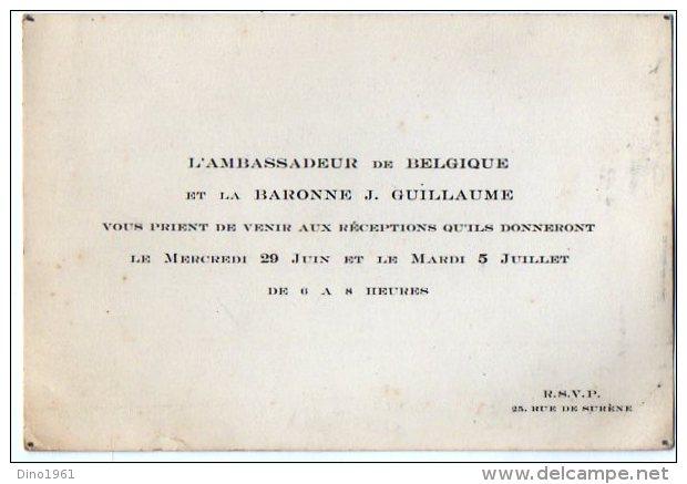 VP2760 - PARIS - Carte D´invitation  - Mr L´Ambassadeur De Belgique Et La Baronne J GUILLAUME - Mapas