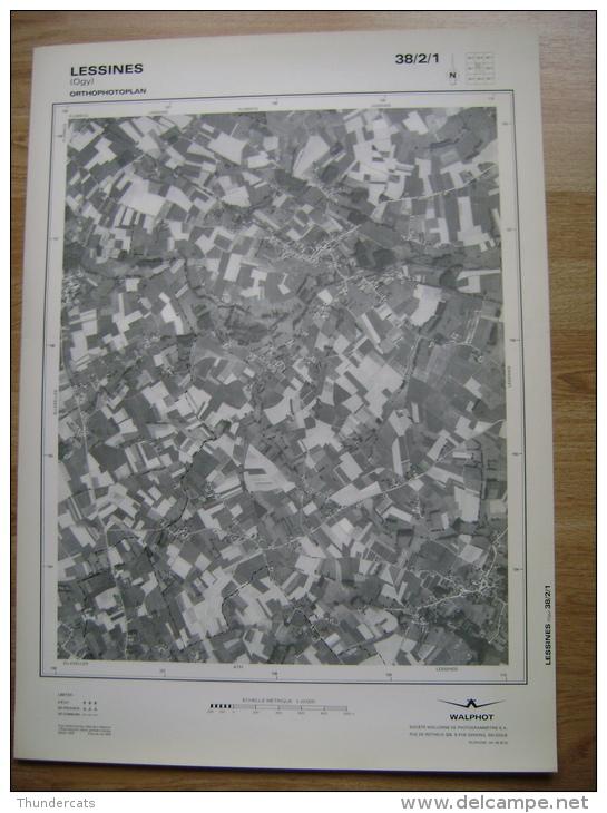 GRAND PHOTO VUE AERIENNE 66 Cm X 48 Cm De 1979 LESSINES OGY - Topographical Maps