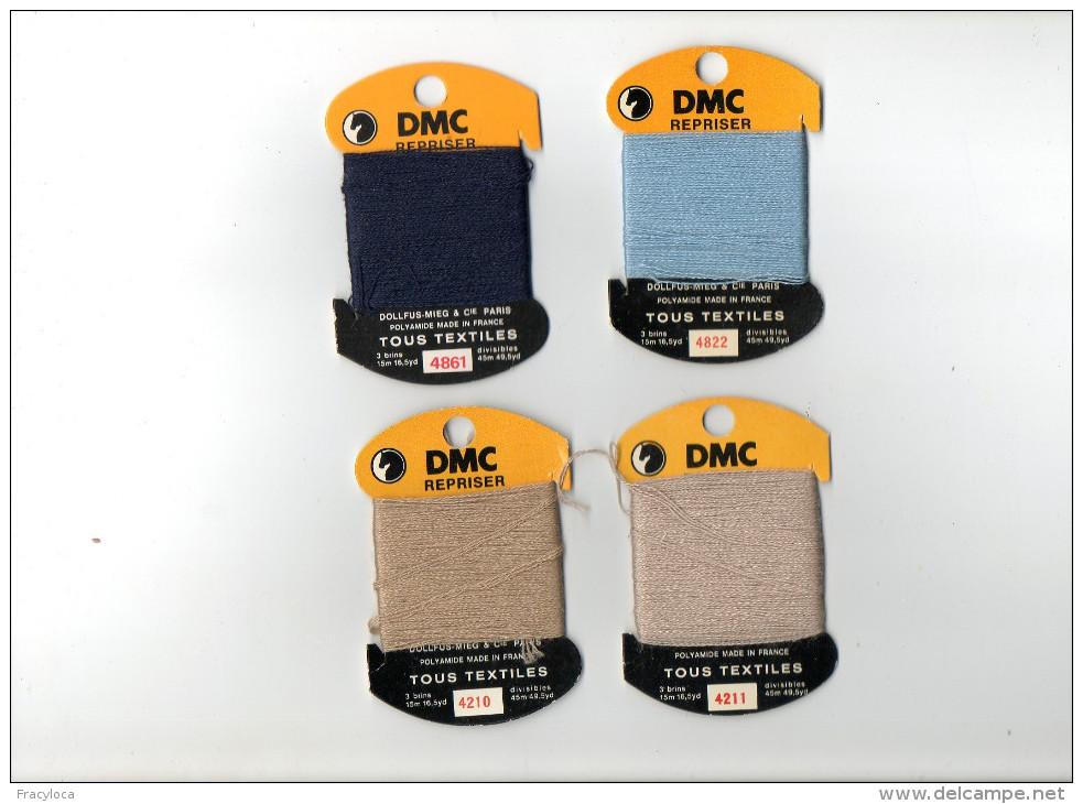 DMC REPRISER LOT DE 4 SUPPORTS ET LAINE A REPRISER  ( Mercerie Couture Broderie Laine) - Laine
