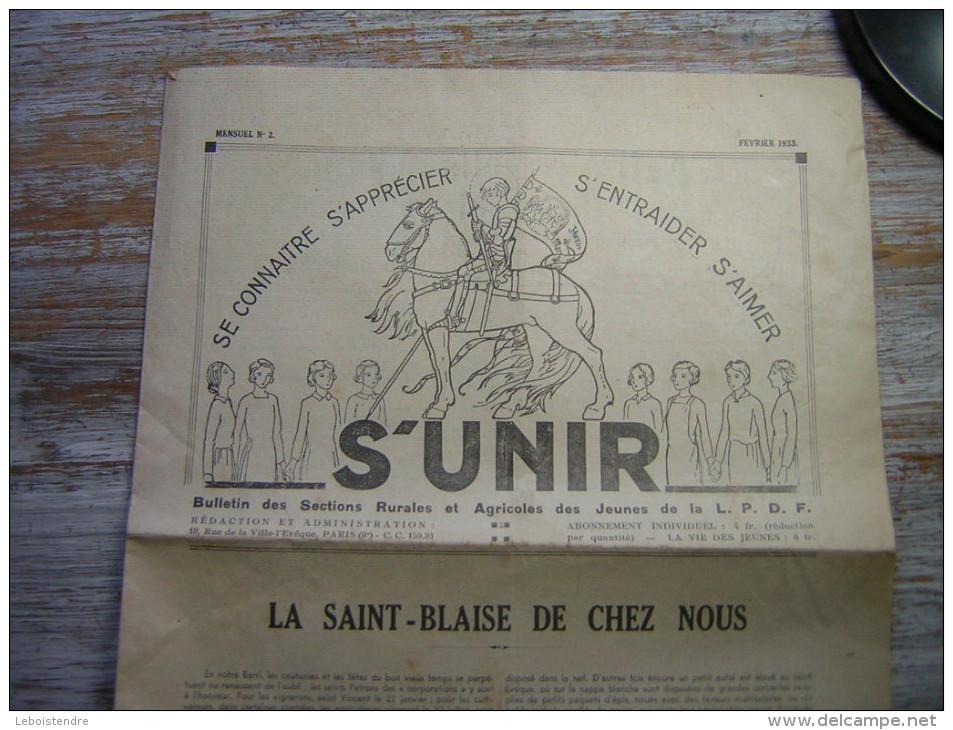 FEVRIE 1936  MENSUEL N° 2 S´UNIR SE CONNAITRE S´APPRECIER S´ENTRAIDER S´AIMER BULLETIN DES SECTIONS RURALES ET AGRICOLES - Journaux - Quotidiens
