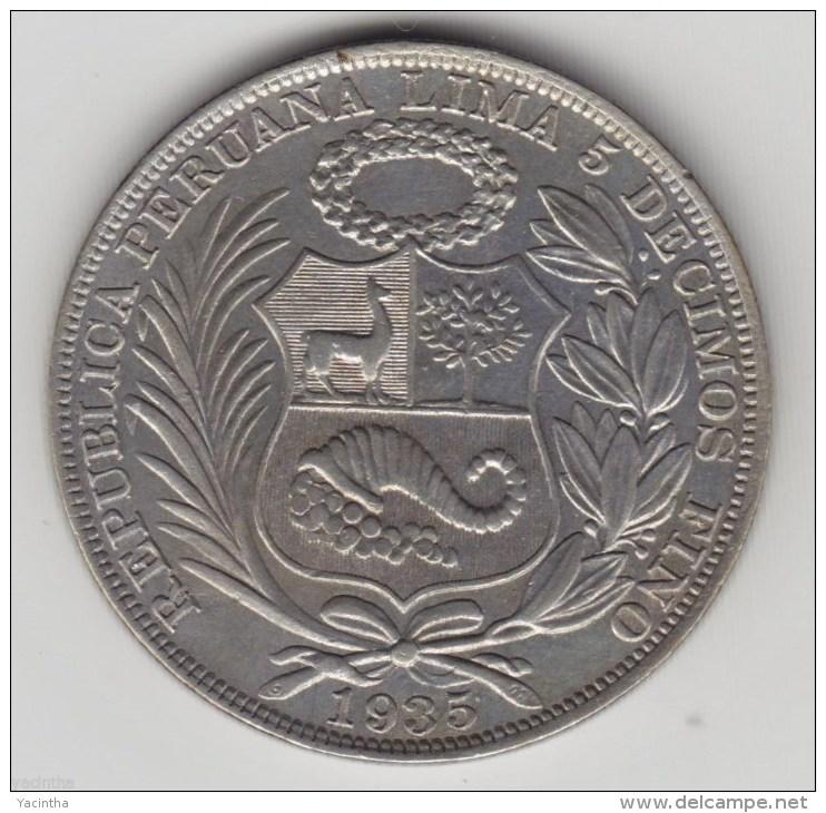 @Y@     Peru - Un Sol 1935  Silver. (item 2892 ) - Pérou