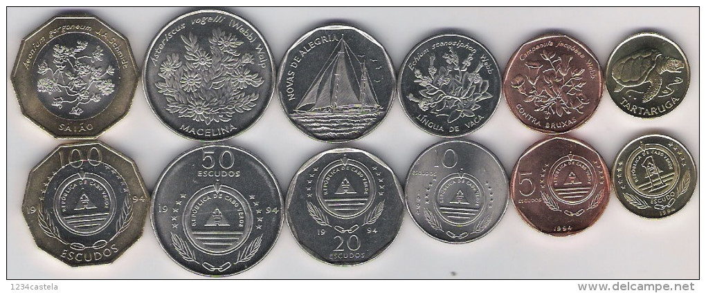 Cape Cabo Verde Complete Set 6 Coins 1 5 10 20 50 100 Escudos Bimetal 1994 UNC - Cap Vert