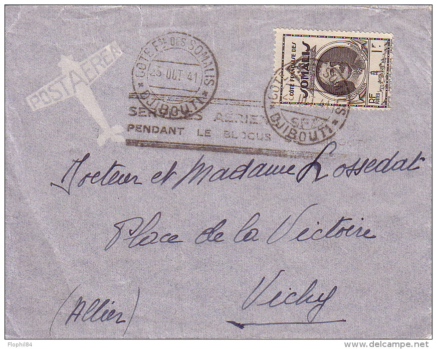 COTE FRANCAISE DES SOMALIS - SERVICE AERIEN SPECIAL PENDANT LE BLOCUS DE DJIBOUTI - LE 23 AOUT 1941. - Lettres & Documents