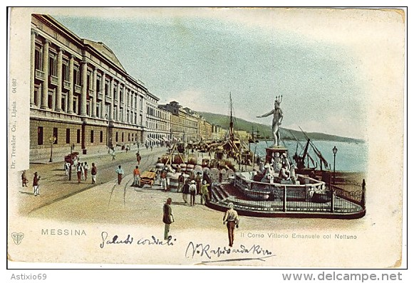 MESSINA IL CORSO VITTORIO EMANUELE COL NETTUNO 1901   L800 - Messina
