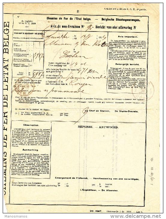 146/24 - Premier Mois De Guerre - Avis De Non-Livraison Chemins De Fer GENT 3 Et GAND SUD 14 Aout 1914 Vers ESSCHEN - WW I