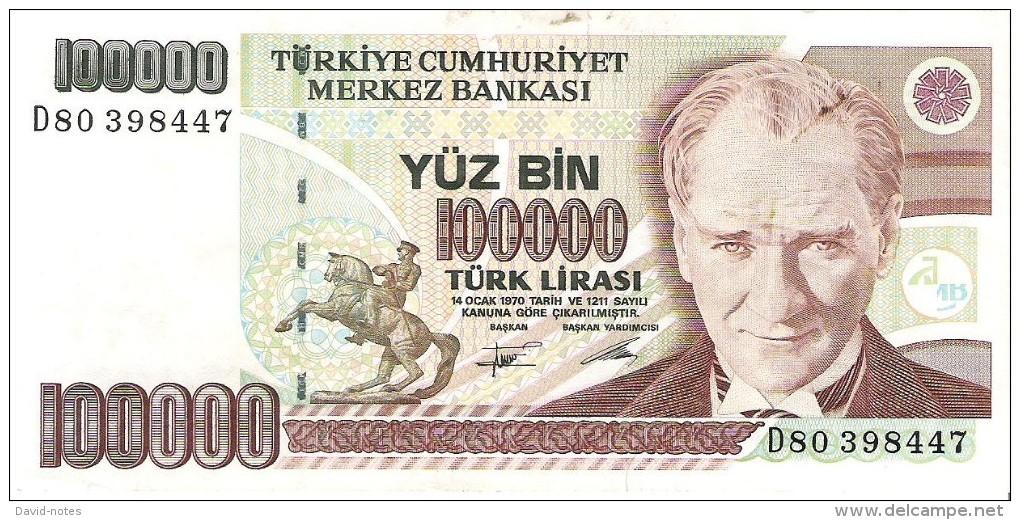 Turkey - Pick 205 - 100.000 Lira 1991 - VF - Turquie