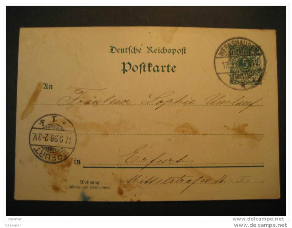 1898 Wernshausen To Erfurt 5pf Postal Stationery Card Postkarte Deutsche Reichspost Germany Deutsches Reich - Alemania