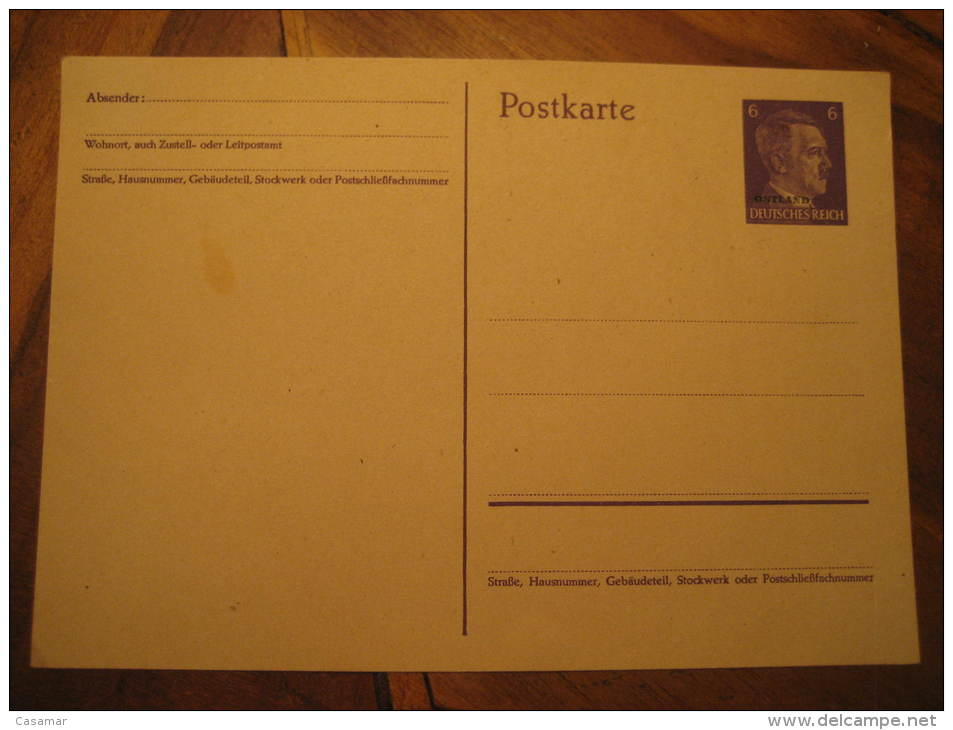 OSTLAND Overprinted Postal Stationery Card Deutsches Reich Poland Germany Occupation Russia - 1941-43 Occupation: Germany