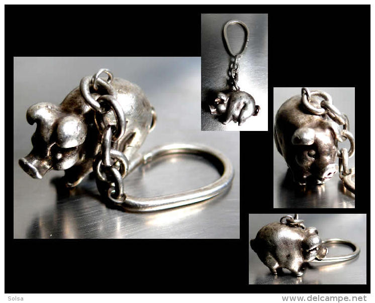 Ancien Porte-clefs Hongrois En Argent Massif/ Old Silver Keys-holder Featuring A Ping From Hungarian Empire - Art Populaire