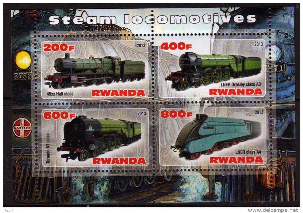 RWANDA 2013 - Trains, Locomotives A Vapeur - BF De 4Val Neuf // Mnh - Rwanda