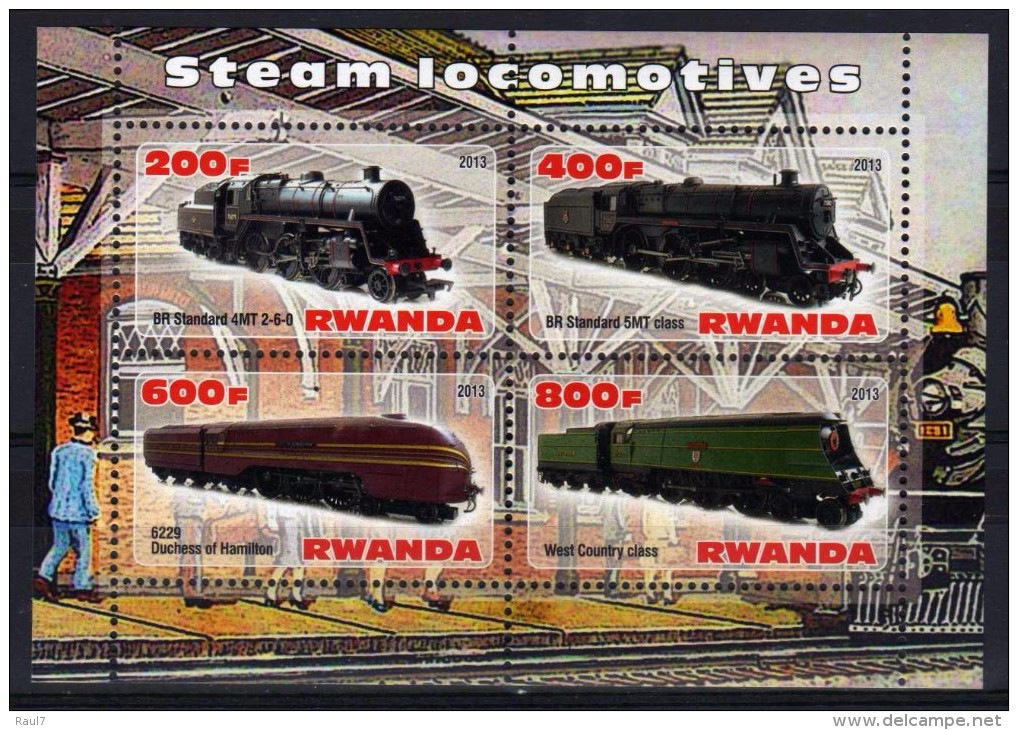 RWANDA 2013 - Trains, Locomotives A Vapeur - BF De 4Val Neuf // Mnh - 1990-99: Neufs