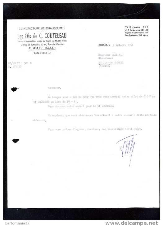 18402-facture-9412   Manufacture De Chaussures Cholet 1964 - France
