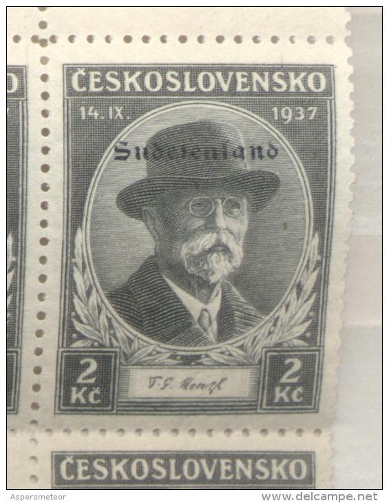 SUDETENLAND KONSTANTINSBAD MICHEL NR. 25 (380) MASARYK-TRAUER SONDERMARKEN 1937 MNH TBE ORIGINAL - Occupation 1938-45