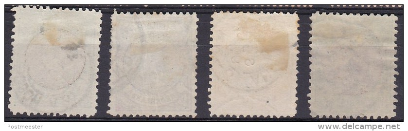 Nederland 1893 - Prinses Wilhelmina 'Hangend Haar - NVPH 45 - 48, Y&T 44 & 46/48 - Gebruikt