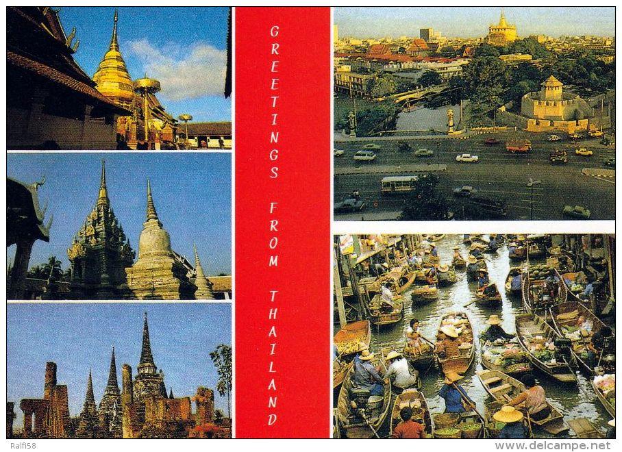 1 AK Thailand * Tempel, Stadtansicht Von Bangkok Und Ein Markt Auf Dem Fluß * - Thaïlande