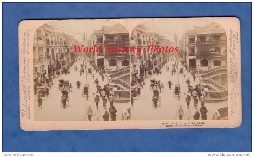 Photo Ancienne Stéréo De 1896 - HONG KONG , China - Queens Street - Chine Asie Asia - Photos