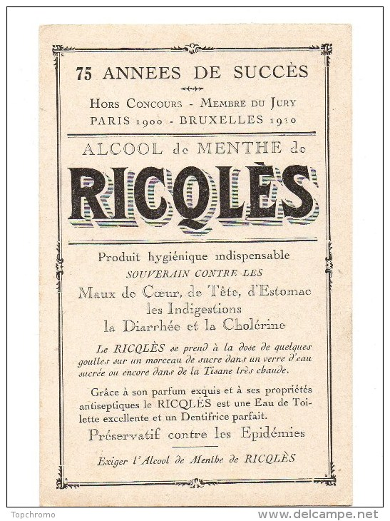 CHROMO Alcool De Menthe De Ricqlès Charles Fouqueray Sodats Guerre Tranchée Front Des Flandres - Unclassified