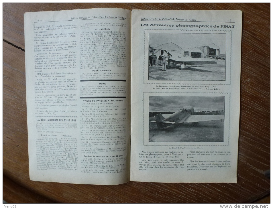 BULLETIN OFFICIEL DE L'AERO-CLUB FOREZIEN ET VELLAVE AERO-CLUB ROANNAIS  5 NUMEROS  DE 1935 - 1900 - 1949