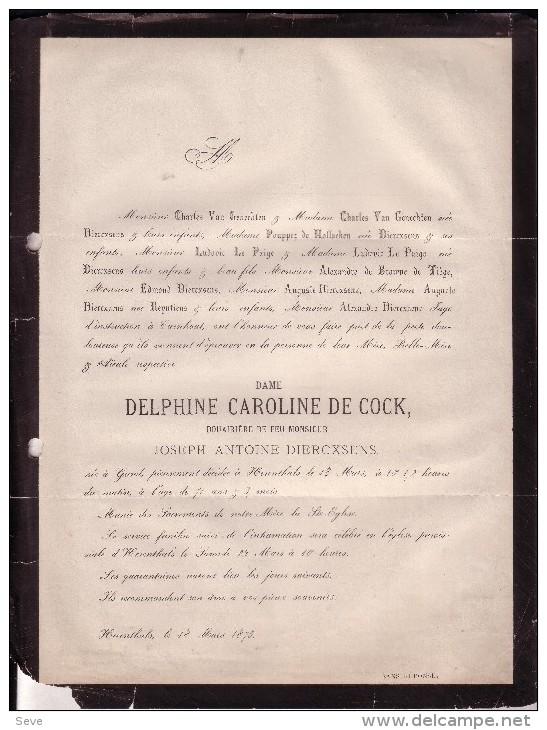 HERENTALS GAND Delphine DE COCK Veuve Joseph DIERCXSENS 1802-1873 Famille POUPPEZ De HOLLAEKEN Rijmenam - Décès