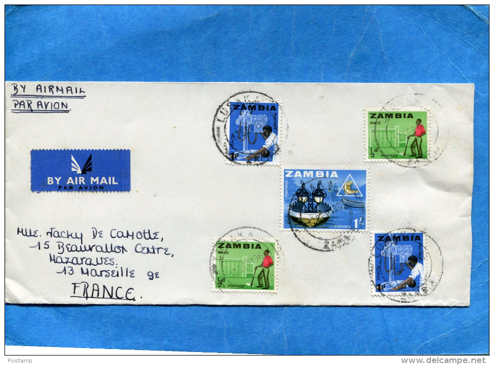 MARCOPHILIE-lettre-ZAMBIA>Françe Cad-Lusaka-1968-  5-stamps N°4+5+11 - Zambie (1965-...)
