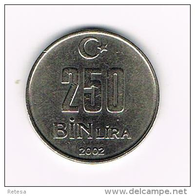¨¨ TURKIJE   250  BIN  LIRA  2002 - Turquie