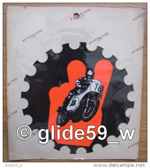 Autocollant MOTO N°18 - Grand Format (Plastic Screen - Italy) (années 70 - Fond Noir Mat Et Orange Mat Fluo) - Stickers