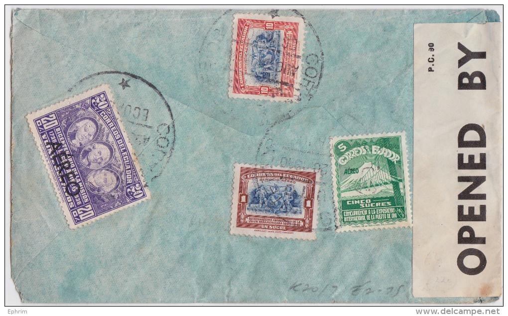 ECUADOR - EQUATEUR - AIR MAIL COVER 1940 QUITO TO LONDON - CORREO AEREO - MILITARY CENSOR WW2 - BANDE DE CENSURE - Ecuador