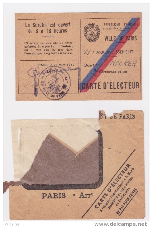 Carte D' ELECTRICE Pour  Le 29-4-1945 - Premier Jour Ou Les Femmes Sont Autorisées à Voter ! - Documents Historiques