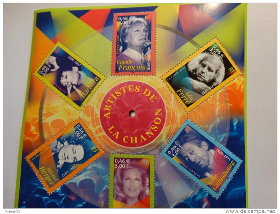 """France 2001(3391-3396)Bloc Feuillet**""""les Personnages Célèbres""""Artistes De La Chanson. - Singers"""