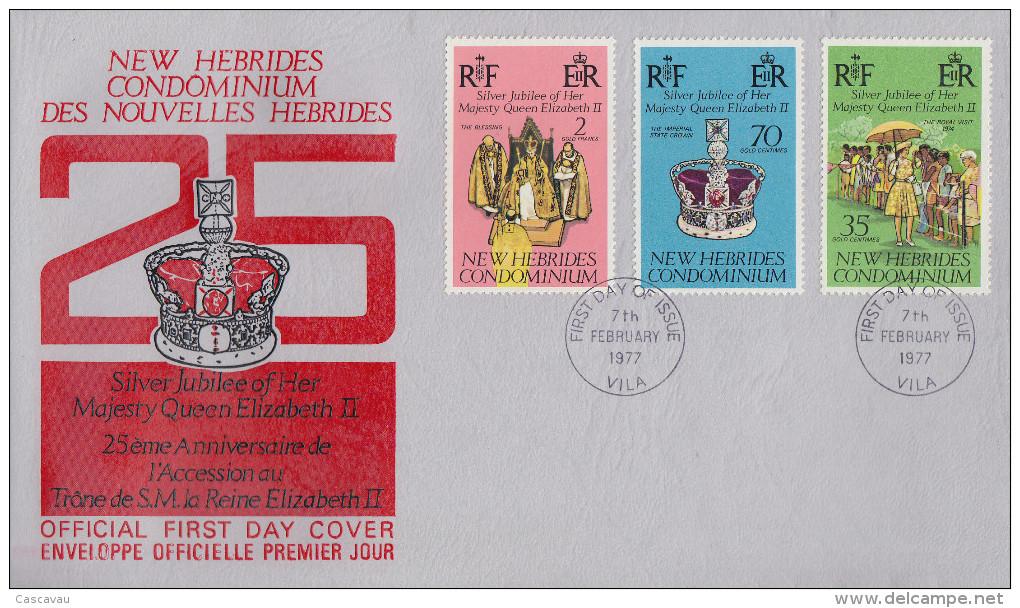 Enveloppe FDC  1er Jour   NOUVELLES  HEBRIDES   Jubilé  D´ Argent   De  La  Reine  ELIZABETH II    1977 - FDC