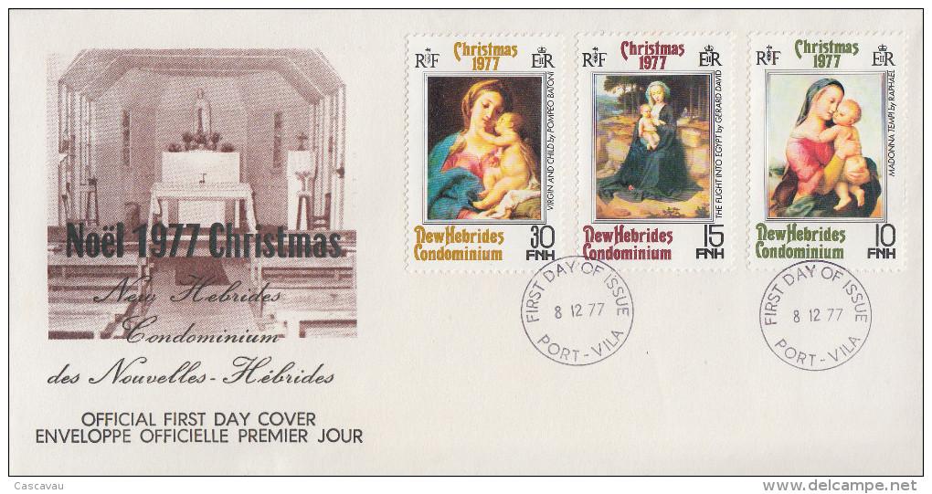 Enveloppe FDC  1er Jour   NOUVELLES  HEBRIDES   Noël  1977 - FDC