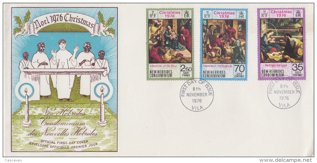 Enveloppe FDC  1er Jour   NOUVELLES  HEBRIDES   Noël  1976 - FDC