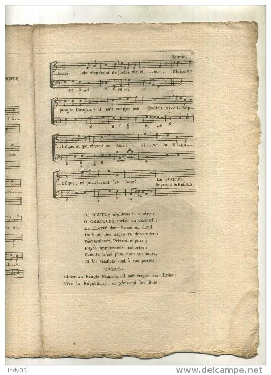 - FRANCE FIN XVIIIe S. REVOLUTION FRANCAISE . LE CHANT DES VICTOIRES HYMNE DE GUERRE . - Partitions Musicales Anciennes