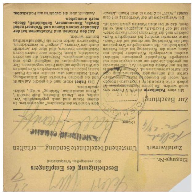Paketkarte -Frankatur Deutsch In Luxemburg Gebraucht - Luxemb.2  ( K1125   ) Siehe Scan - Briefe U. Dokumente