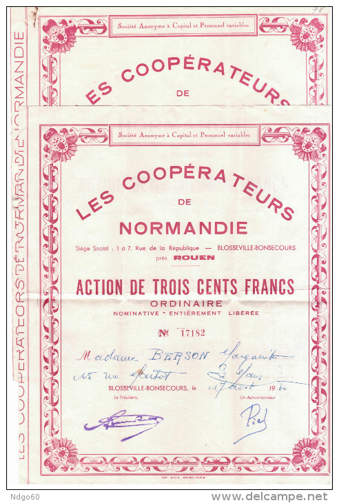 """2 Actions De Trois Cent Francs """"les Coopérateurs De Normandie"""" - Shareholdings"""