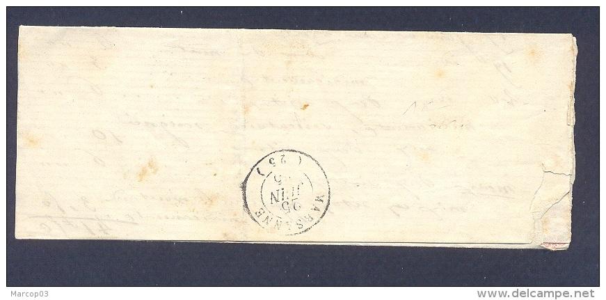 DROME 25 LAC Tad 15 Marsanne Du 24 Juin 1865 GC 2238 Sur N°  21  TTB - 1849-1876: Période Classique