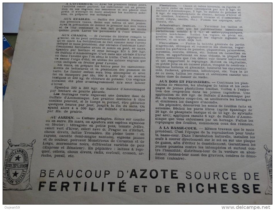 Feuille De Calendrier Mars 1940 Avec Les Travaux Du Mois....... - Calendriers
