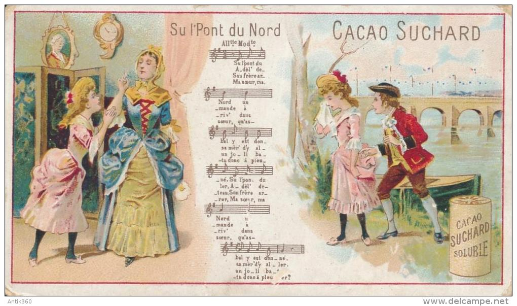 Chromo Chocolat Cacao Suchard Sur Le Pont D'Avignon Chanson Partition - Suchard